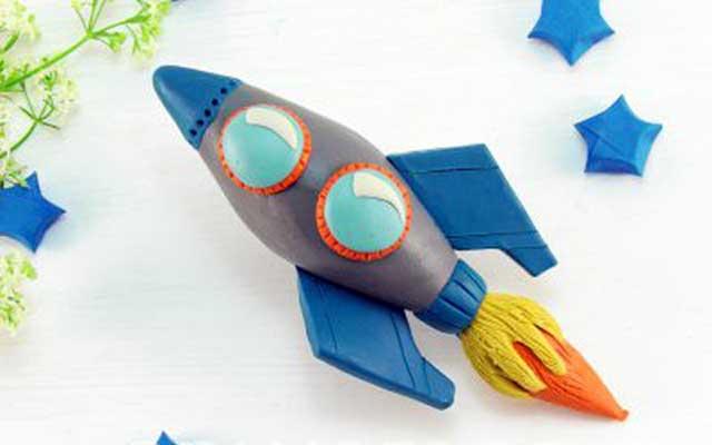 поделка ракеты из пластилина