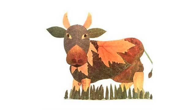 бык из природных материалов
