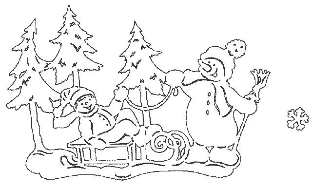 снеговичок вытынанка