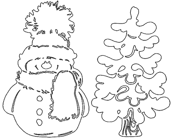 снеговик новогодний трафарет