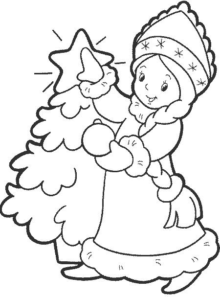 снегурочка новогодний трафарет